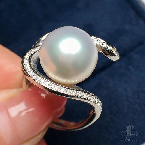 AAAA 12-13mm South Sea Pearl Ring 18k White Gold w/ Diamond