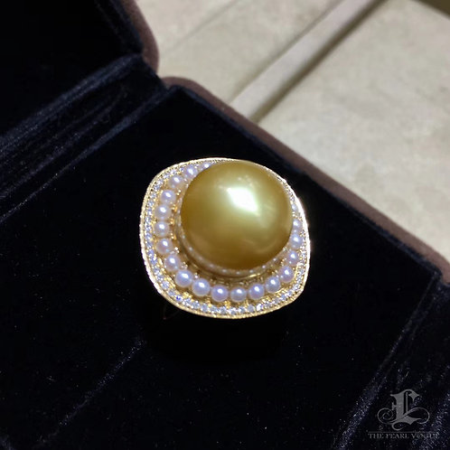0.40ct Diamnd AAAA 13-14 mm Golden South Sea Pearl Ring Pendant, 18k Gold