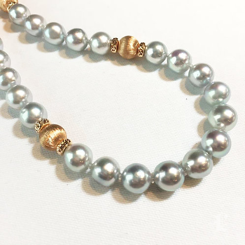 53cm, Madama 8.5-9 mm Akoya Pearl Novel Strand Necklace 18k Rose Gold