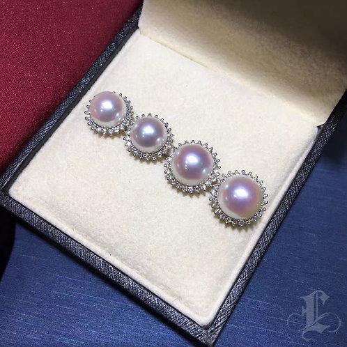 0.45ct Diamond, AAAA 8.5 or 9.5mm Akoya Pearl Classic Earrings, 18k White Gold