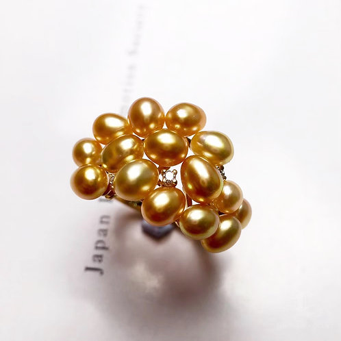 KESHI 3-6mm Wild South Sea Pearl Ring 18k Gold w/ Diamond