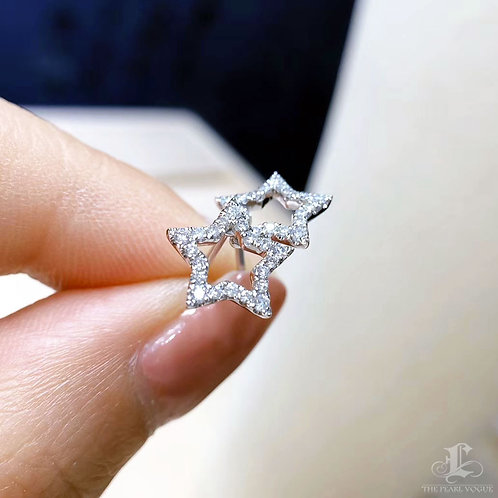 0.25 ct FG/SI Natural Diamond Micro-Pave Star Earrings 18k Gold