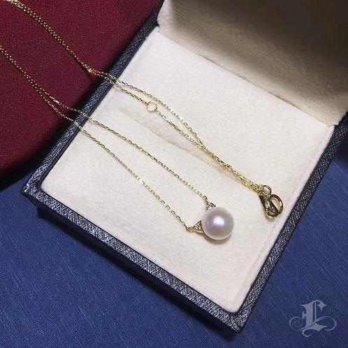 AAA 7-7.5mm Akoya Pearl Lovely pendant, 18k Gold w/ Diamond