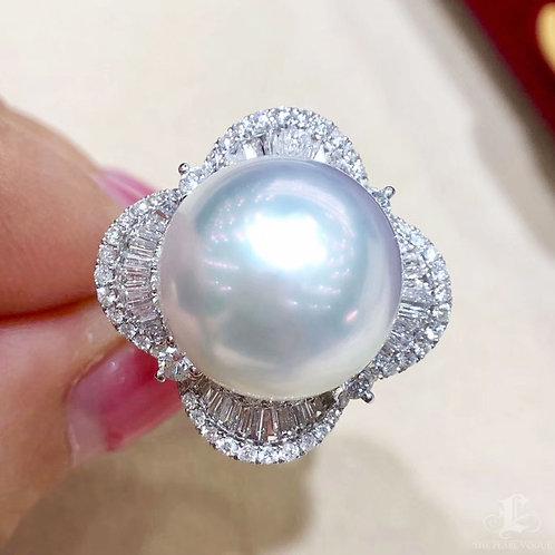 0.97ct Diamond, AAAA 14-15 mm South Sea Pearl Luxury Ring Pendant 18k Gold