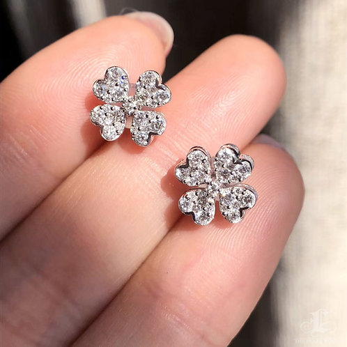 0.60 ct FG/SI Micro-Pave Natural Diamond Earrings 18k Gold