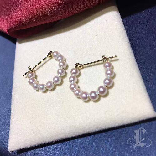 AAAA 3.5-4 mm Baby Akoya Pearls Earrings 18k Gold