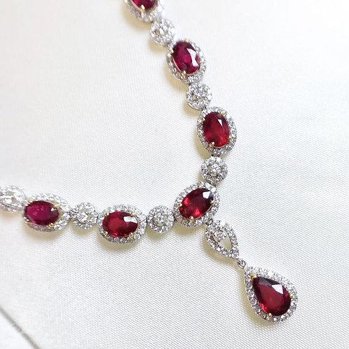 50cm 8.46ct Vivid Red Ruby Pendant Necklace 18k Gold w/ Diamond w/ GUILD Certf