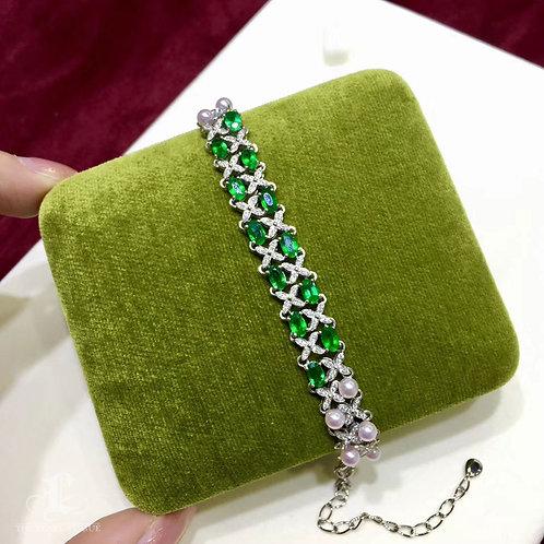 Natural Emerald, AAAA 3.5-4 mm Baby Akoya Pearl Bracelet 18k Gold Diamond