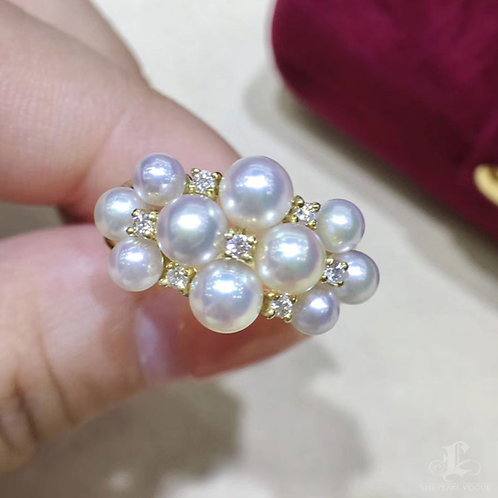 0.12ct Diamond, AAAA 3-5 mm Baby Akoya Pearl Fashion Ring, 18k Gold