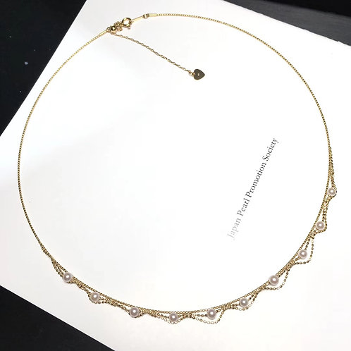 45cm, AAA 3-3.5mm Baby Akoya Pearl Lace Collar 18k Gold