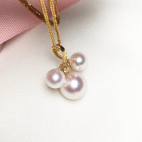 AAAA 5.5-6 & 8-8.5mm Akoya Pearl Fashion Pendant, 18k Gold