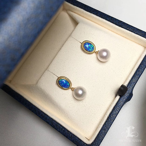 AAA 7.5-8mm Akoya Pearl Earrings, 18k Gold
