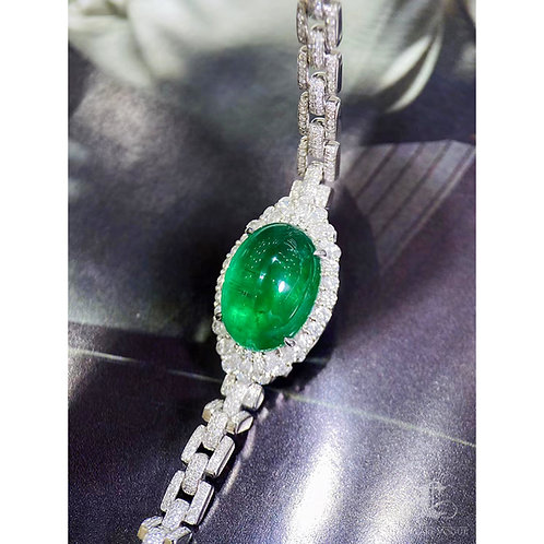 11.90 ct Natural Emerald Classic Bracelet 18k Gold w/ 1.95 ct Natural Diamond