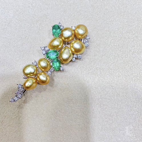 KESHI Wild Golden South Sea Pendant Brooch, 18k Gold w/ Emerald