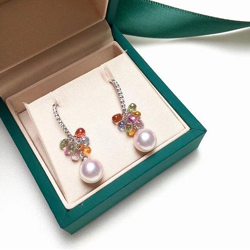 6.2ct Sapphire, AAAA 8-8.5 mm Akoya Pearl Earring, 18k Gold w/ Diamond