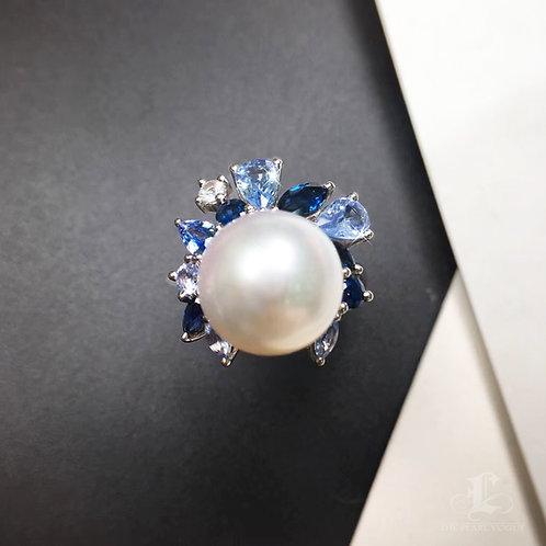 2.89ct Sapphire AAAA 11-12mm South White Sea Pearl Unique Ring, 18k White Gold