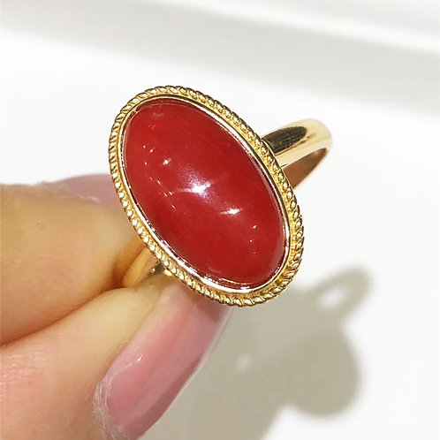 13.5 x 7.6 mm Italian Natural Red Coral Classic Ring 18k Gold w/ Diamond