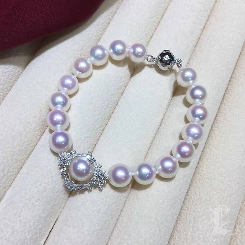 0.60ct Diamond, AAAA 8-9mm Akoya Pearl Bracelet 18k White Gold