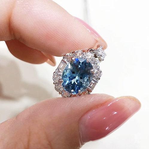 2.485 ct Blue Natural Aquamarine Pendant PT Gold Diamond w/ Certificate