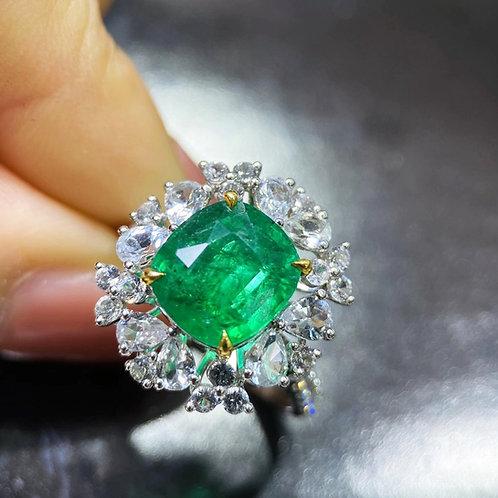 2.85 Natural Emerald Ring 18k Gold Diamond w/ GRC Certificate