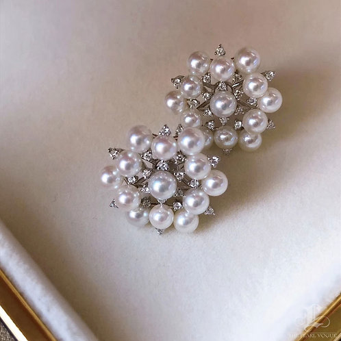 0.34 ct Diamond AAAA 3-4 mm Akoya Pearl Earrings 18k Gold