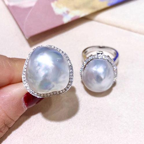 0.48ct Diamond AAAA 15 x 17 mm Baroque South Sea Pearl Ring Pendant 18k Gold