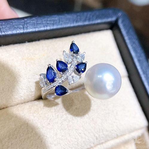 0.98ct Sapphire, AAAA 10-11mm South Sea Pearl Ring, 18k Gold w/ Diamond
