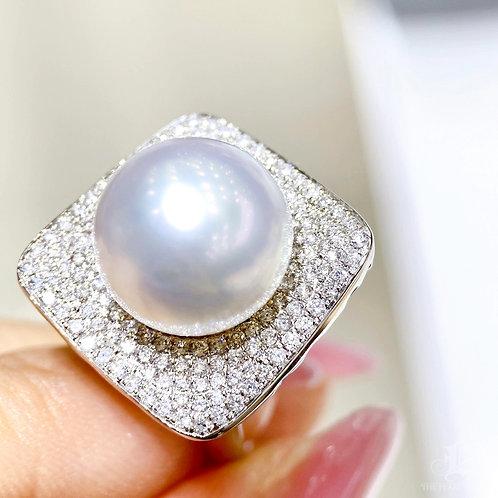 1.03 ct Diamond, AAAA 13-14 mm South Sea Pearl Luxury Ring Pendant 18k Gold
