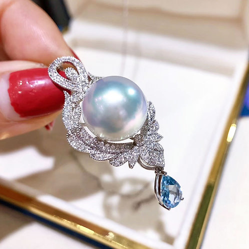 0.75ct Aquamarine, AAAA 13-14 mm South Sea Pearl Pendant 18k Gold Diamond