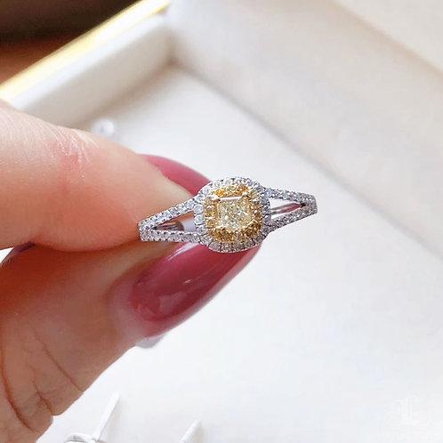 0.52 ct FG/SI Natural Diamond Micro-Pave Ring 18K Gold