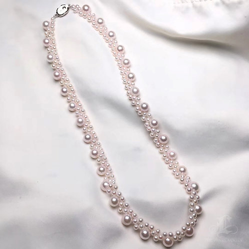 43cm, AAAA 3.5-7.5mm Akoya Pearl Multiple Strand Necklace Sterling Silver Clasp