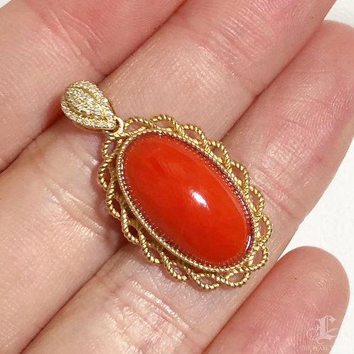 Italian Natural Red Coral Classic Pendant 18k Gold w/ Diamond