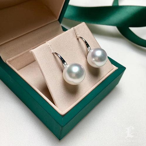 AAA 11-12mm South Sea Pearl Earrings, 18k White Gold