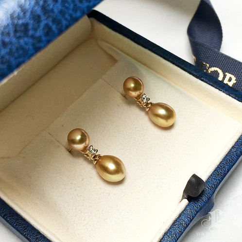KESHI 6-7 mm Wild South Sea Pearl Earrings 18k Gold w/ Diamond