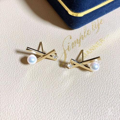 AAAA 5-5.5 mm Akoya Pearl Balance Earrings 18k Gold w/ Diamond