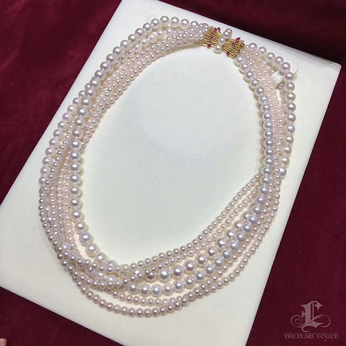 45cm, AAAA 3.5-7mm Akoya Pearl 6 Strand Necklace w/ Large 14k Gold & Ruby Clasp