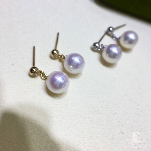 AAA 8.5-9 mm Akoya Pearl Fashion Earrings 18k Gold