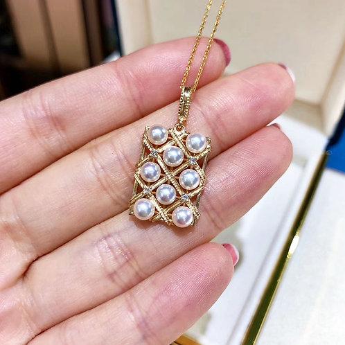 0.10ct Diamond AAAA 4-4.5 Akoya Pearl Fashion Necklace, 18k Gold