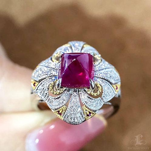 2.66ct Vivid Red Ruby Royal Ring 18k Gold Diamond, w/ WGL Certificate