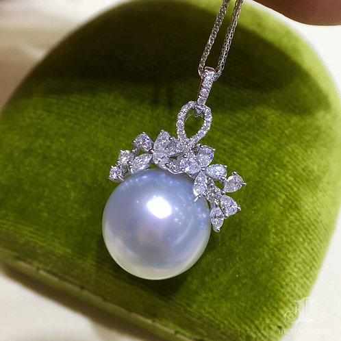 0.53ct Diamond AAAA 13-14 mm White South Sea Pearl Royal Pendant, 18k Gold