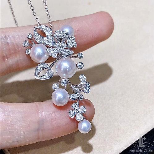 0.59 ct Diamond, AAAA 4-8 mm Akoya Pearl Pendant Brooch 18k White Gol