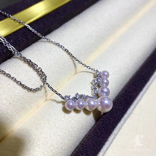 0.26ct Diamond, AAAA 3-6 mm Akoya Pearl Fashion Pendant, 18k Gold