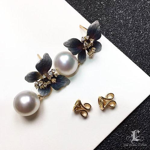 AAAA 10-11mm White South Sea Pearl Butterfly Earrings, 18k Gold w/ Diamond