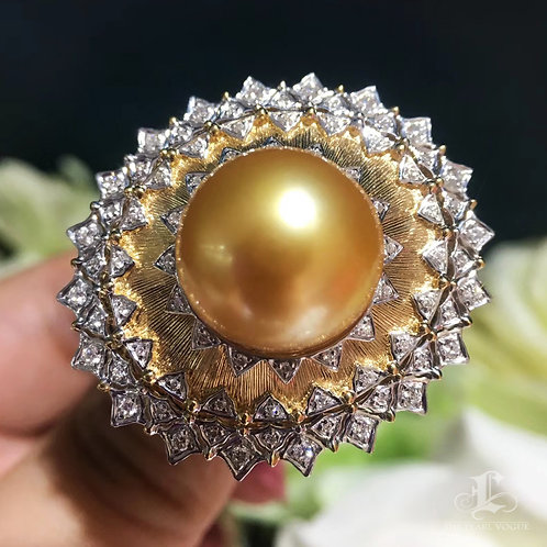 CUSTOMIZE | 0.59ct Diamond AAAA 13-14mm South Sea Pearl Royal Ring 18k Gold