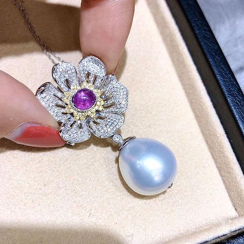 1.49ct Sapphire w/ Certificate, Wear Pendant or Brooch, 14-15mm South Sea Pearl
