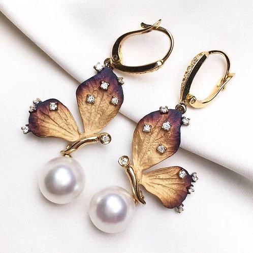 AAAA 9-9.5mm Akoya Pearl Butterfly-Shape Earrings, 18k Gold w/ Diamond