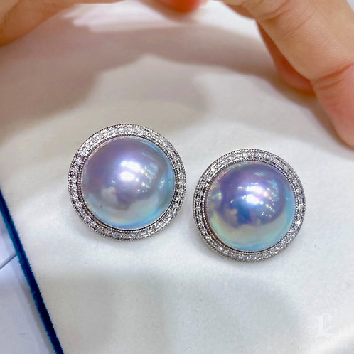 0.37 ct Diamond AAAA 17-18 mm Aurora Mabe Pearl Earrings 18k Gold