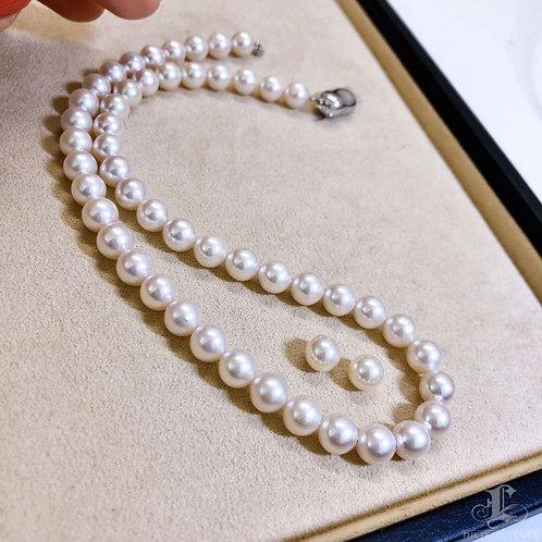 45cm, AAAA 8-8.5 mm Akoya Pearl Classic Necklace Earrings Set