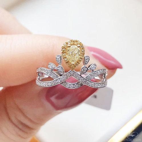 0.55 ct FG/SI Natural Diamond Micro-Pave Ring 18K Gold
