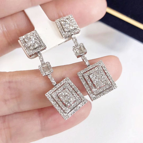 2.00 ct GH/SI Micro-Pave Natural Diamond Cluster Earrings 18k Gold